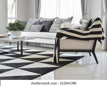 modern living room interior with black and white checked pattern pillows and carpet