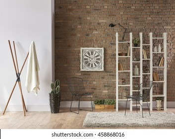 modern living room interior bookshelf behind natural brick wall concept with clock horizontal banner