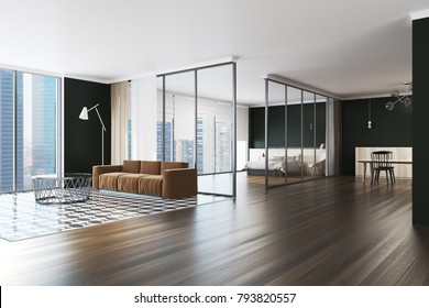 Modern Living Room Interior With A Checkered And Wooden Floor, Black Walls  And A Yellow