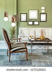 modern living room and interior design. decorative lamp