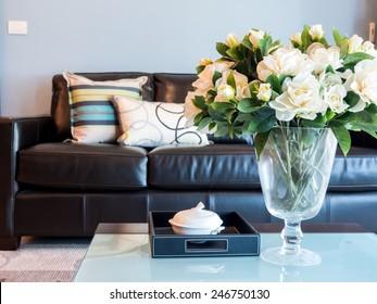 Modern Living room interior design with artificial flower vase