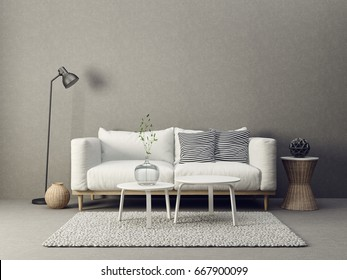 modern living room interior with furniture. 3d illustration
