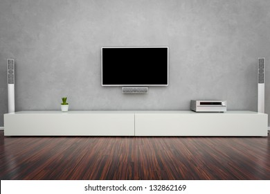 Modern Living Room Interior with Home-Entertainment