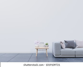 Modern living room interior with sofa and green plants,table on white wall background. 3d rendering.