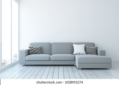 Modern living room interior with sofa, copy space on concrete wall and city view with daylight. Mock up, 3D Rendering