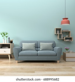 modern living room interior with sofa lamp and green plants on blue wall background,minimal designs, 3d rendering.