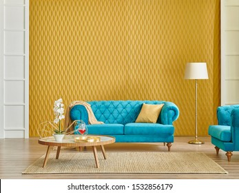 Modern living room interior style, yellow wall background, textured detail, blue sofa and wicker carpet marble middle table.