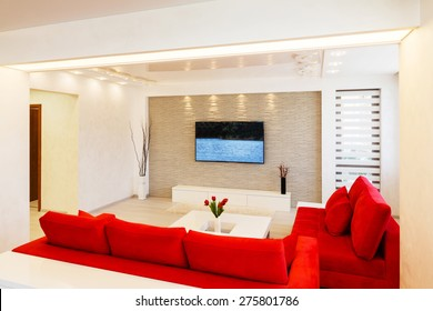 Modern living room interior with TV.