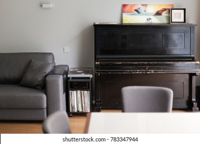 Modern living room interior with vintage piano