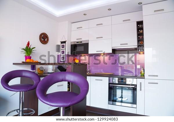 Modern Living Room Interior White Purple | Buildings ...