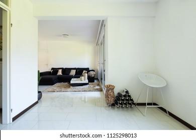 Modern living room with large dark sofa. Nobody inside