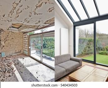 Modernes Wohnzimmer mit großen Fenstern und Meerblick. vor und nach
