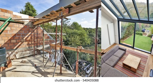 Modern living room with large windows and view on a autumnal garden. before and after
