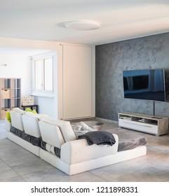 Modern living room with light sofa. Nobody inside