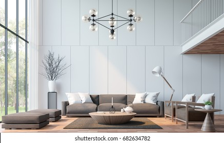 Modern living room with mezzanine 3d rendering image.There are wooden floor decorate wall with groove.furnished with brown fabric furniture.There are large windows look out to see the nature