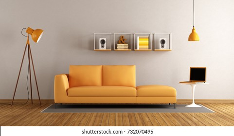 Modern living room with orange sofa with laptop on coffee table- 3d rendering
