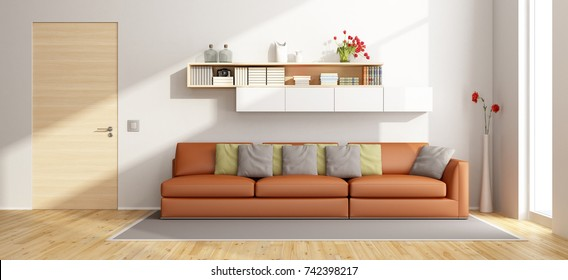 Modern living room with orange sofa and wall unit - 3d rendering