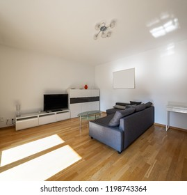 Modern living room with parquet and dark sofa. Nobody inside