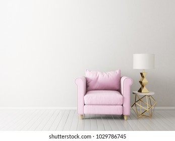modern living room  with pink armchair and lamp. scandinavian interior design furniture. 3d render illustration