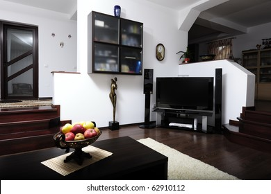 Modern living room with plasma and hi-tech sound system