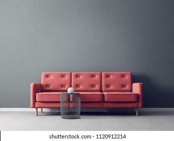 modern living room  with red sofa. scandinavian interior design furniture. 3d render illustration