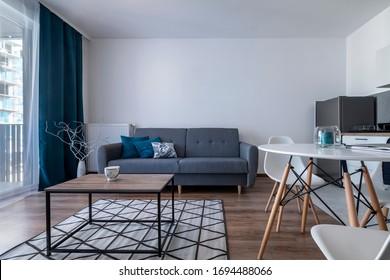 Moderna sala de estar con muebles de diseño escandinavo.