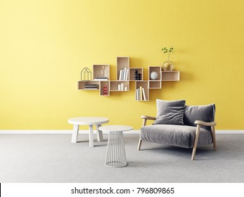 modern living room. scandinavian interior design furniture. 3d illustration