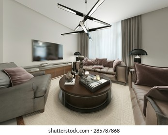 Modern living room with seating and Media Storage. The warm brown and beige tones. 3d render.
