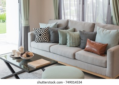 modern living room with set of sofa and pillows, interior design concept