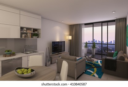 Modern Living Room in Small Private House 3d rendering