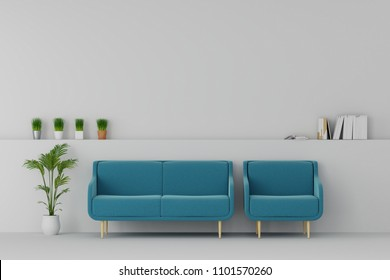 modern living room with sofa and furniture and group of picture frame on the wall.  relax time.