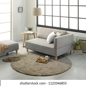 Modern living room with sofa and furniture. Japanese style one room interior. Practical sofa bed furniture design.