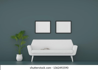 modern living room with sofa and furniture and two picture frame on the wall. relax time