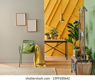 Modern living room style with metal hunger and metal chair wooden table and home accessory, Water green wall with carpet.