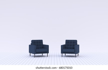 Modern living room with two dark blue sofa on a middle.The wall is light blue color, 3D rendering