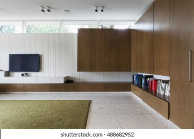 Modern living room with walnut built in cabinets and tv