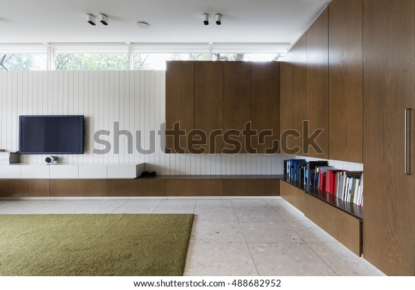 Modern Living Room Walnut Built Cabinets Stock Photo Edit Now