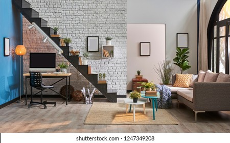 Modern living room, white brick wall, wooden desk and desktop under black stair, carpet sofa and middle table interior. Lamp, frame, black chair concept.