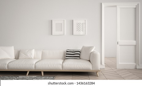 Modern living room with white sofa and carpet, blank wall background with open door, herrigbone parquet, template background with copy space, interior design concept idea, 3d illustration