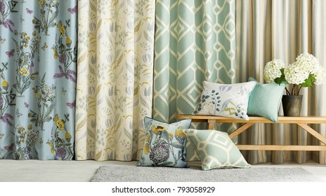 Modern living room. Room window with curtains