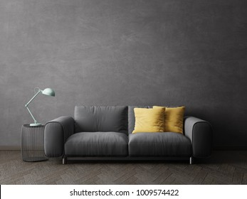 modern living room witn sofa. scandinavian interior design furniture. 3d illustration
