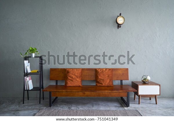 Modern Living Room Wooden Bench Sofa Stock Photo Edit Now 751041349