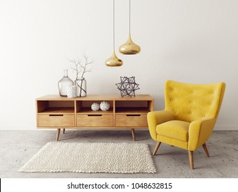 modern living room  with yellow armchair. scandinavian interior design furniture. 3d render illustration