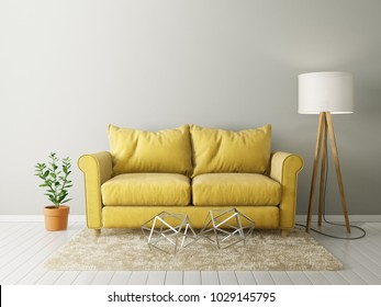 modern living room  with yellow sofa and lamp. scandinavian interior design furniture. 3d render illustration