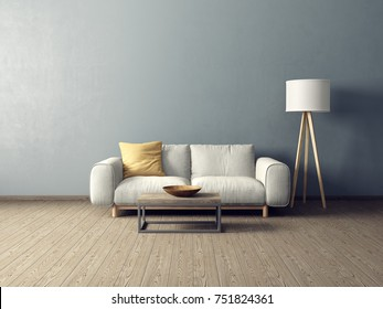 modern living room  with ywhite sofa and lamp. scandinavian interior design furniture. 3d render illustration