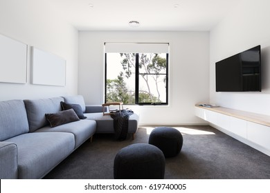 Modern living tv room in a contemporary home