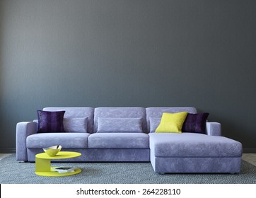 Modern living-room interior with couch near empty gray wall. 3d render. Photo on book cover was made by me.