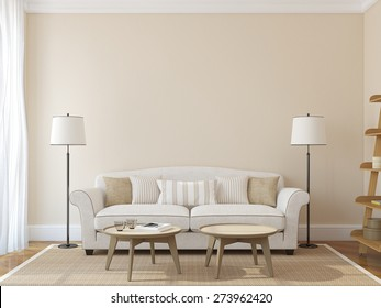 Modern living-room interior with white couch near empty beige wall. 3d render. Photo on book cover was made by me.