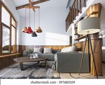 Modern living-room in a loft style. Living room with corner sofa and wall with wood paneling and large windows. The original chandelier with shades of different colors. 3D render.
