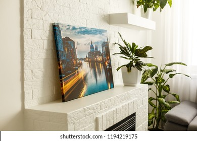 Modern lliving room interior with venice, italy, canvas on the wall - it is my photo available in shutterstock gallery
